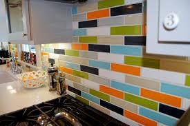 kiln ceramic 2x8 subway tile multicolor kitchen backsplash close up