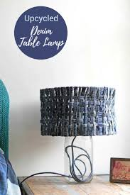 How To Make A Unique Table Lamp With A Denim Lampshade Pillar Box Blue