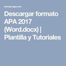 Descargar Formato Apa 2017 Word Docx Plantilla Y