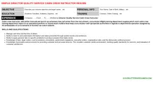 Director Quality Service Cabin Crew Instructor Resume Cover Letter