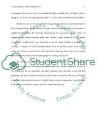 Essay Of Technology Technology And Modernity Essay Example Topics And Well Written
