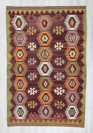 0378 vintage handwoven decorative colorful large turkish kilim