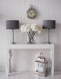 hall table white. Chrome And Grey Table Lamp Shown As A Pair On The Gloss White Console For Hall .