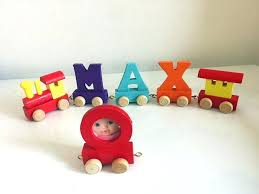 wooden name train letters