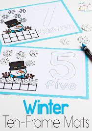 snowman ten frame number mats for winter practice counting to 10 with these diffeiated