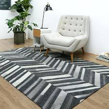 grey striped rug modern style luxury cowhide seamed square gray natural cow skin chequer carpet for living ikea
