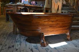 Wooden Bathtub Endearing Varnished Freestanding Wood Bathtub Idea With Lovely One