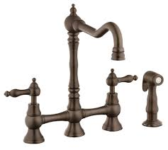 belle foret n11001orb oil rubbed bronze bridge kitchen faucet with side spray