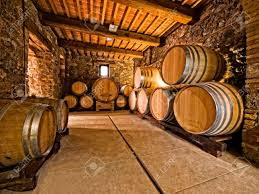 stack wine barrels. Stacked Oak Wine Barrels. Barrels In A Winery Cellar Stock Photo - Stack