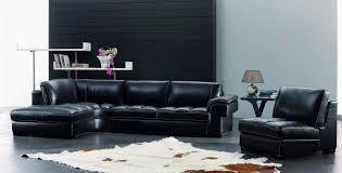 Leather Sofa Living Room Appealing Black Leather Sofa Photo Lollagram