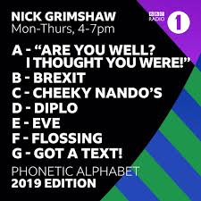 Unless you have the latest technology, some letters sound very similar over the telephone. Bbc Radio 1 On Twitter Grimmers Has Given The Phonetic Alphabet A 2019 Makeover Get Swotting Up As We Might Be Testing You On The New And Improved Version Soon Https T Co V3euuxlr7z