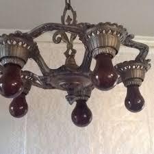 vintage antique art deco polychrome chandelier 1 of 2 1930s