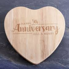 personalised anniversary heart wooden chopping board image