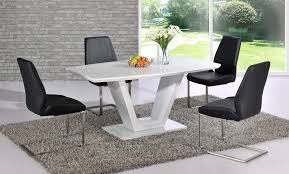 white high gloss dining table with glass top and 6 black chairs set