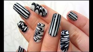 Nail Art in Black and White ||Easy nail designs ideas | easy nail ...