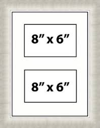 multi aperture picture photo frames fits 2 8x6 photos white mount made in uk silver