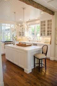 rustic chic kitchen with white cabinets