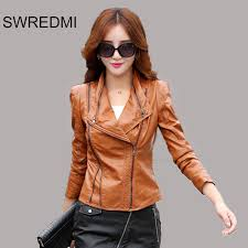women leather jacket 2017 new arrival las clothing slim fashion motorcycle coat xs xl black ourerwear tops work to wear in leather suede from women s