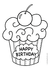 Happy Birthday Color Page Adult Coloring Pages Printable Best Book