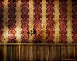 Steampunk wall. Red wallpaper, wood grain, rustic, aged, grunge.