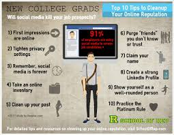 new college graduates beware a poor online reputation can kill infographic 10 tips for college grad reputation management