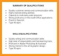 Summary Of Skills Resume Skinalluremedspa Com