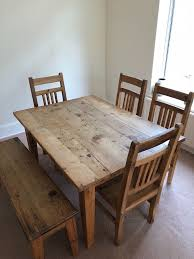 wooden dining table chairs and bench