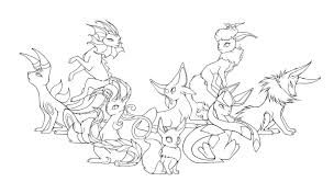 15 Eeveelutions Lineart Coloring Page Pokemon For Free Download On