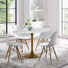 Amazoncom Modway Lippa 54 Oval Dining Table In Gold White Tables