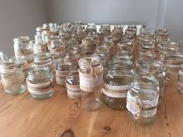 Decorate Jam Jars 100 Jam Jars decorated with hessian lace and jute string in 54