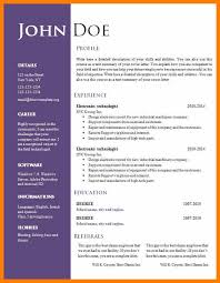 Resume Template Free Download Doc