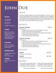 Cv Sample Doc Free Download Professional Resume Templates