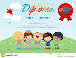 Kids Certificate Border Certificate Kids Diploma Kindergarten Template Layout Space