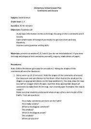 Elementry Lesson Plans Elementary School Lesson Plan Continents And Oceans Teacherlingo Com