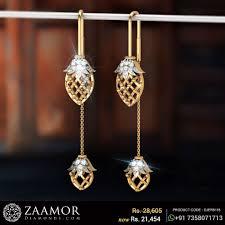 Latest Design Of Gold Earrings Sui Dhaga Jasayla Floral Sui Dhaga Diamond Earrings Gold Earrings