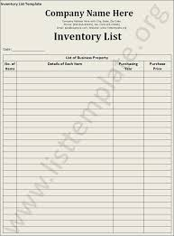 Business Inventory List Template