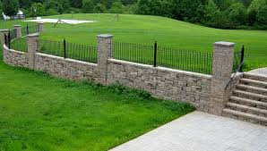 patio wall on uneven ground