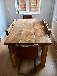 chunky solid wood beam dining table 2 thick top rustic made any size