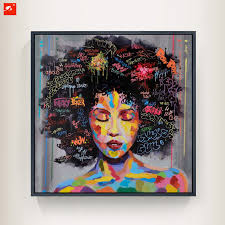 framed graffiti street wall art modern african woman portrait canvas oil painting on prints for living room ready to hang in painting calligraphy from  on african woman wall art with framed graffiti street wall art modern african woman portrait canvas
