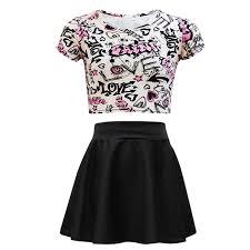 Crop Top Pattern Stunning Kids Girls Love Graffiti Scribble Print Crop Top Black Skater