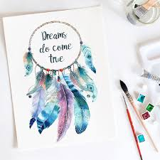 What Is A Dream Catcher Supposed To Do Dream catcher Dreams do come true Watercolor print 34