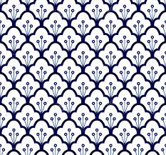 Blue China Pattern Inspiration Seamless Porcelain Indigo Blue And White Simple Art Decor Vector