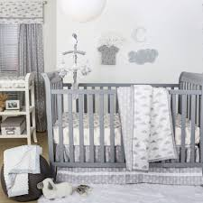 the peanut shell 3 piece baby crib bedding set grey and white cloud print 100 cotton quilt crib skirt and sheet com