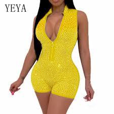 <b>YEYA</b> Sexy Flash Diamond Party Jumpsuits Women <b>Transparent</b> ...