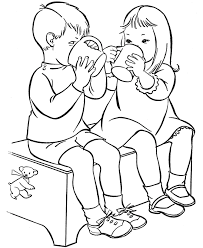 Drinking Water Alone Children Drinks Coloring Pages