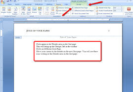 Microsoft Word Apa Header Apa Style And Format