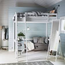 A white bedroom with a white STOR loft bed, EMMIE grey quilt cover and a