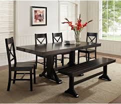 dining room table sets with bench. Image Of: Contemporary Black Dining Table Set Room Sets With Bench X