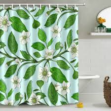 lb green leaves natural white flower shower curtain bathroom curtains fl waterproof polyester fabric for bathtub