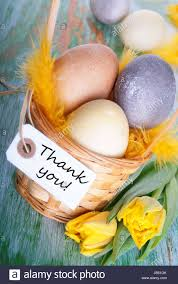 Thank You Easter Easter Nest With Eggs And Label With Thank You Stock Photo